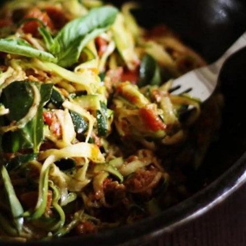 Zucchini Spaghetti With Sun-Dried Tomatoes and Basil