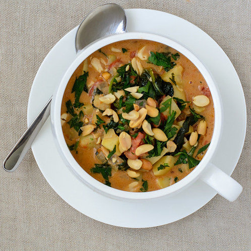 West African Peanut Soup with Baby Spinach
