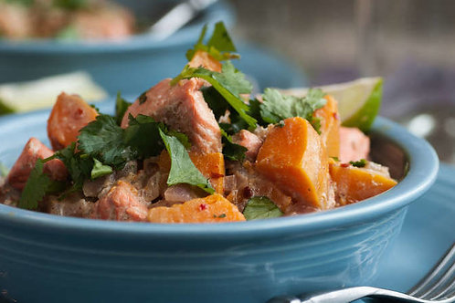 Spicy salmon and butternut squash curry