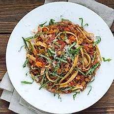 Lentil Bolognese with Fettuccine Pasta & Basil