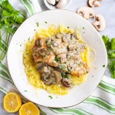 Creamy Mushroom Chicken Over Roasted Spaghetti Squash .