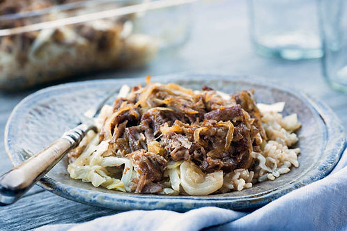 Pulled pork casserole with cheddar and cabbage