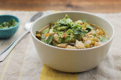 Green chicken chile with guacamole