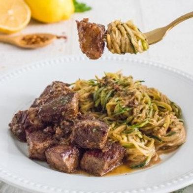 Garlic & Lemon Seared Steak Bites with Zucchini Noodles .