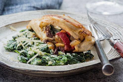 Mediterranean stuffed chicken breasts with creamed spinach