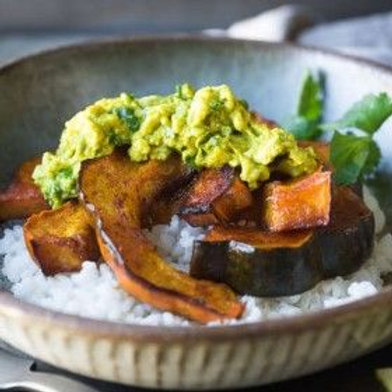 Roasted Squash and Coconut Rice Bowls with Curried Avocado