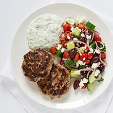Greek Turkey Burger Patties with Tzatziki Sauce & Greek Salad