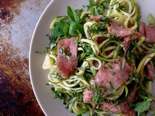 Zucchini Noodle Salad with Grilled Steak