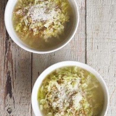 Comforting Cabbage, Onion, and Farro Soup