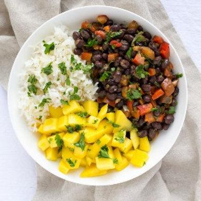 Black Bean & Mango Rice Bowl with Cilantro Vinaigrette .