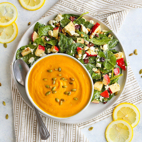 Butternut Squash Soup with Spinach Salad & Lemon Poppy Seed Dressing