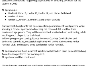 Coach Applications 2020