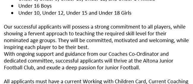 Coach Applications 2020