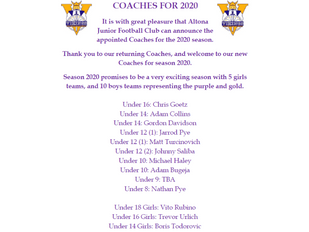 Announcement - Coaches for 2020