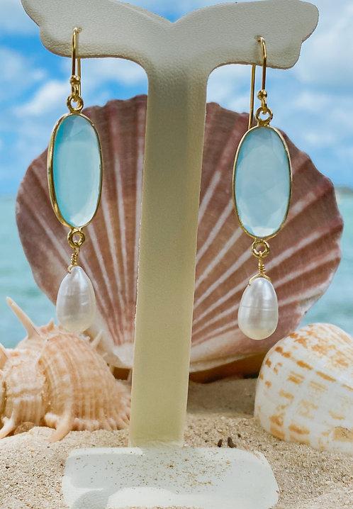 Aqua Chalcedony Earrings.