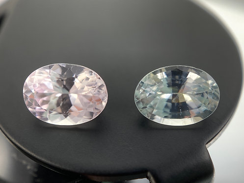 Near-White Pink and Green Sapphires (Matching Pair) - 1.97 Carats