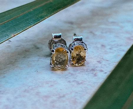 Sunstone Earrings Stud Sterling Silver