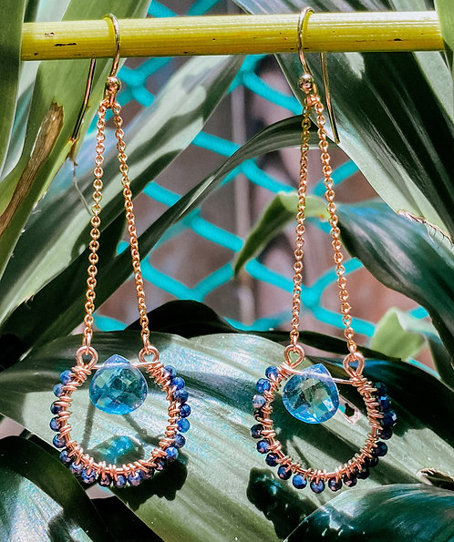 Sapphire & Apatite Earrings