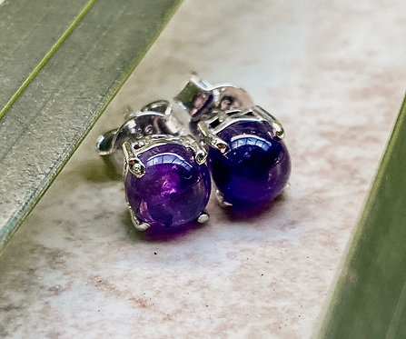 Amethyst  Stud Earrings Sterling Silver