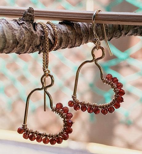 Heart Garnet Brioletes Earrings