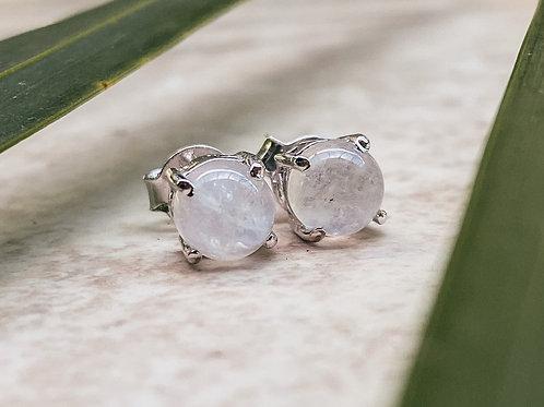Moonstone Stud Earrings Sterling Silver