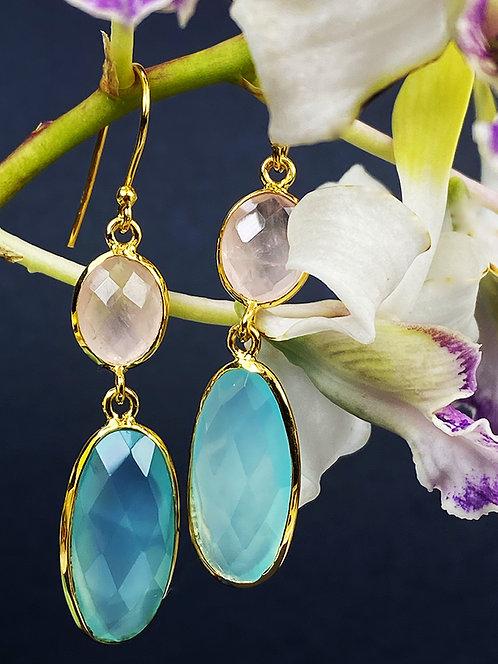 Rose Quartz and Aqua Chalcedony Earrings.