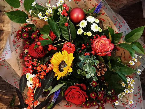 Premier Christmas Cracker Handtied Bouquet with Festive galvanised jug