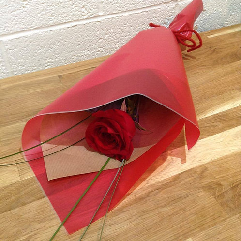 Single Red Rose Gift Wrapped