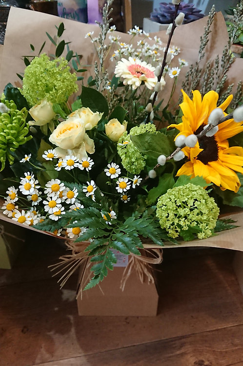 Florists choice Hand Tied in eco box.