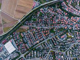 市の航空写真