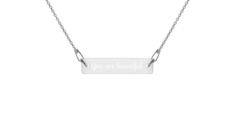 """""""Anybody But Me- You are beautiful"""" Lyric Engraved Silver Bar Chain Necklace"""