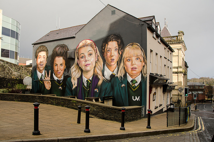 COLOUR - Derry Girls Mural Unveiled by Mary Harkin (8 marks)