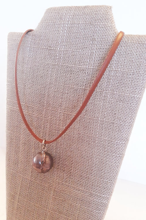 """""""Settled"""" Leather/Pearl Necklace"""
