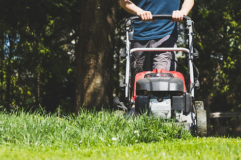 Mowing the grass with a lawn mower in ga