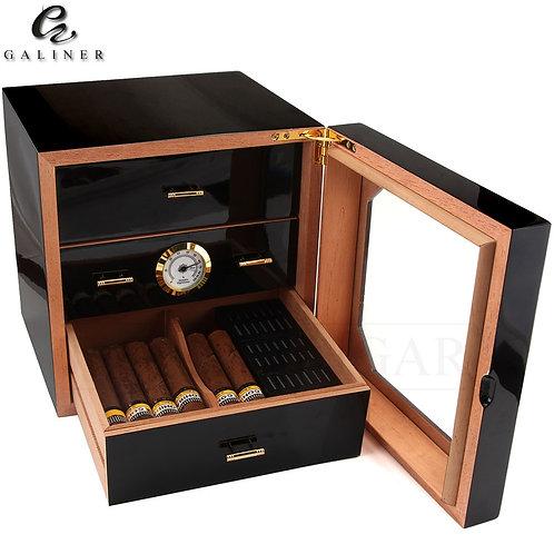 Black Glossy Cigar Humidor Box Cedar Wood Cigar Case W/ Humidifier Hygrometer Ci