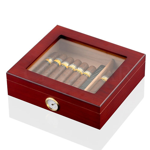 GALINER Luxury Cigar Humidor Portable Travel Cigar Box Cedar Wood Leather Humido