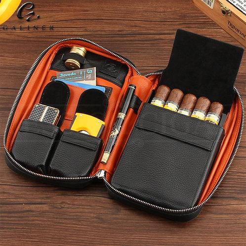 GALINER Gadgets Genuine Leather Cigar Case Travel Cigar Humidor Box Portable Hum