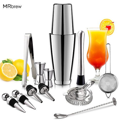 13Pcs/Set Stainless Steel Cocktail Shaker Ice Tong Mixer Drink Boston Bartender