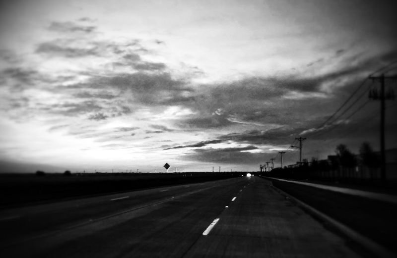 Black and White Photography by Artist Kelly E. Marra - East on Elm - Sunrise over the McKinney Airport Runway
