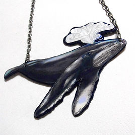 Humpback Whale Necklace by Artist Kelly E. Marra, Whimsical, Illustration, Navy Blue, White and Gray, Huge Statement Jewelry, Nautical Jewelry, Ocean Life