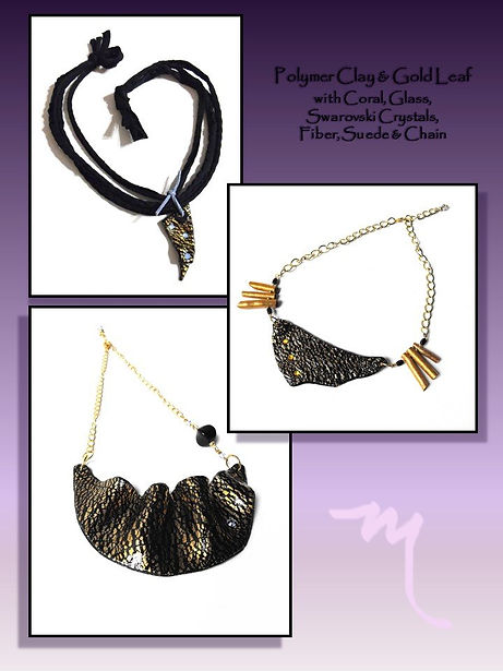 Black and Gold Jewelry by Artist Kelly E. Marra - Polymer Clay Jewelry, One of a Kind, Gold Leaf, Fabric, Chain, Coral, Glass, Unique Bib Necklaces