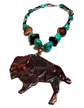 Southwestern Buffalo Necklace, Printmaking Pendant, Artist Kelly E. Marra, Green Turquoise, Brown, Wood, Copper Beaded Necklace, Chunky Southwestern Jewelry, One of a kind