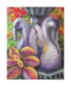 Mixed Media Painting, Fountain, Flowers, Swan Fountain, Swans, Painting byt Texas Artist Kelly E. Marra, Violet, Magenta, Gray