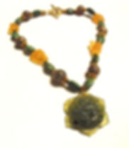 Moss & Citrine Floral Necklace by Artist Kelly E. Marra - Sold - Chunky Statement Necklace, Carved Stone, Citrine Nuggets, Moss Green Turquoise, Gold Color
