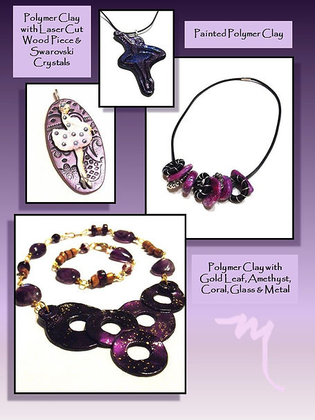 One of a Kind Clay Jewelry by Artist Kelly E. Marra - Purple, Violet, Fuschia, Unique One of a Kind Jewelry, Ballerinas, Circles, Geometric, Amethyst, Coral, Polymer Clay