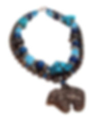 Southwestern Bear Pendant, Multi strand necklace, Turquoise, Blue & Brown - by Artist Kelly E. Marra