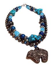 Southwestern Bear Pendant, Multi strand necklace, Turquoise, Blue & Brown - by Artist Kelly E. Marra