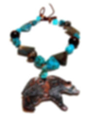 Southwestern Bear Necklace, Turquoise, Clay, Copper, Stone, Artist Kelly E. Marra