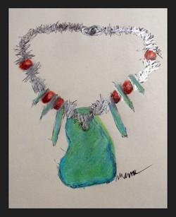 Large Turquoise Slab Necklace Sketch