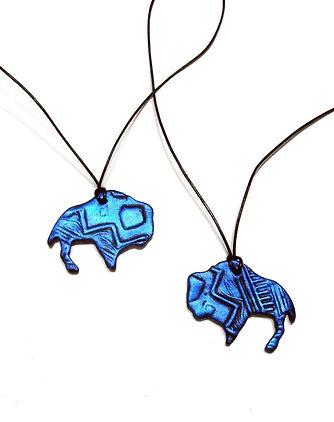 Metallic Blue Buffalo Pendants by Artist Kelly E. Marra, Clay, Printmaking, Art Jewelry, Southwestern Jewelry, One of a kind jewelry, geometric jewelry, Buffalos